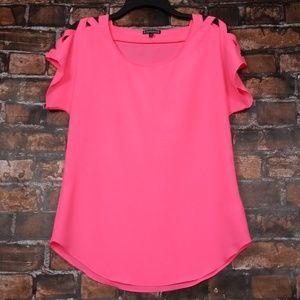 Express| Hot Pink Criss Cross Open Shoulder Tunic